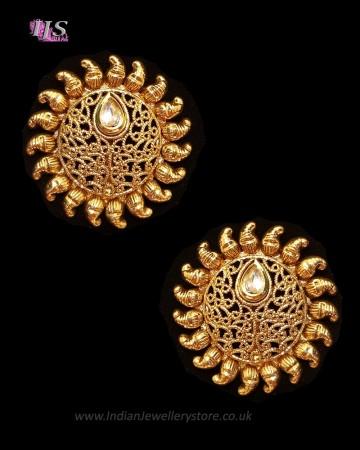 Sunray Large Indian 22k Stud Earrings - White EEWK11232
