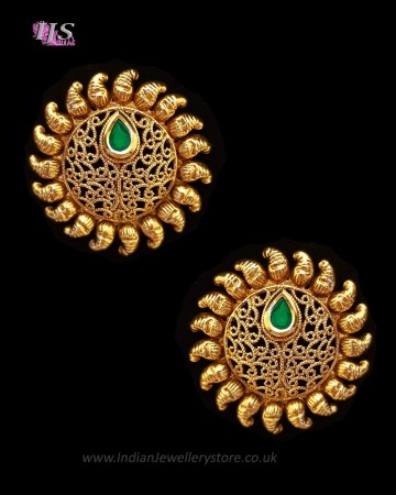 Sunray Large Indian 22k Stud Earrings EEWK11233C