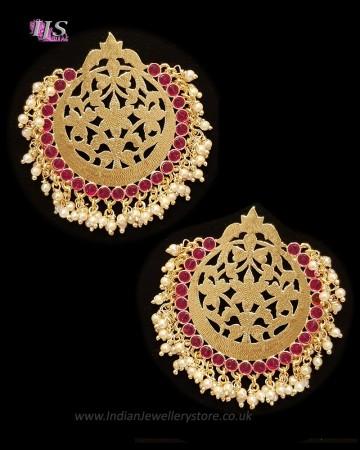 Mumtaz Oversized Asian Fretwork Earrings - Rani Pink EEPK11236