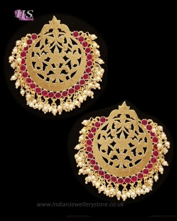 Mumtaz Oversized Asian Fretwork Earrings - Pearl EEWK11239C