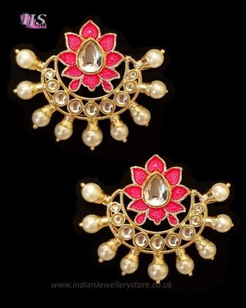 Crescent Moon & Lotus Flower, Pearl Oversized Asian Stud Earrings - Neon Pink EEPK11243