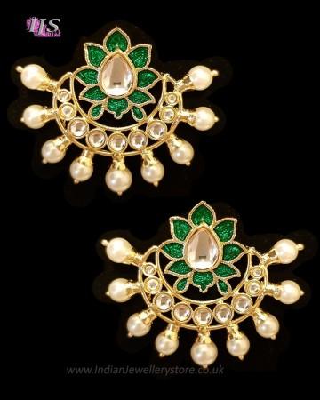 Crescent Moon & Lotus Flower, Pearl Oversized Asian Stud Earrings - Bottle Green EEGK11244