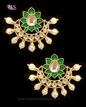 Crescent Moon & Lotus Flower, Pearl Oversized Asian Stud Earrings - Grass Green EEGK11245