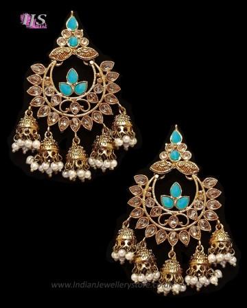 Chandbali Jhumki Indian Ear Ornaments - Sky Blue EALA11248