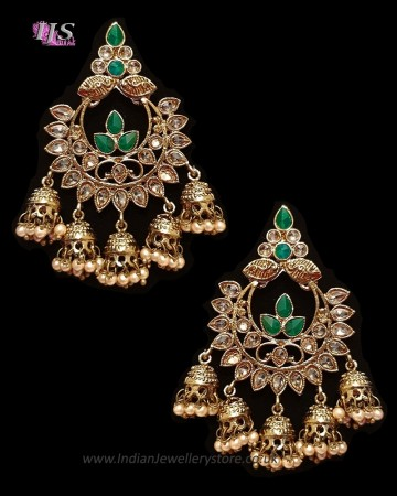 Chandbali Jhumki Indian Ear Ornaments - Bottle Green EAGA11249