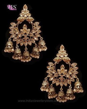 Chandbali Jhumki Indian Ear Ornaments - Champagne EANA11252