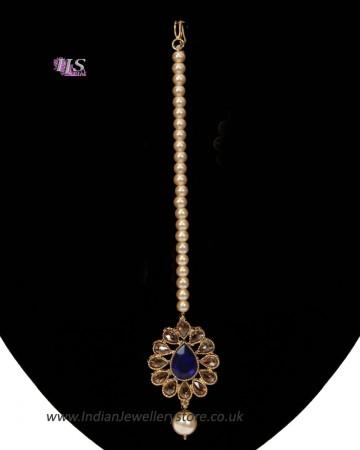 Antique & Pearl Indian Maang Tikka - Royal Blue ZALA11255