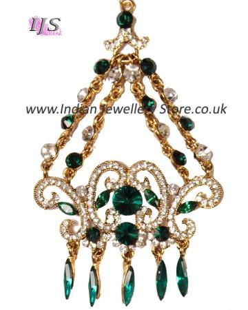 Jaiya Emerald Crystal Jhumar - Antique PAGC0294