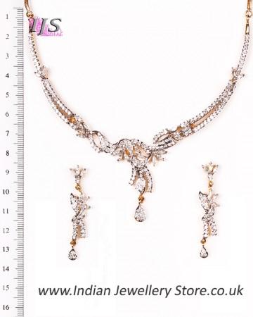 Delicate Fine American Diamond Necklace Set NGWA04618