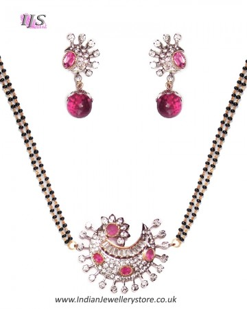 Raspberry Pink American Diamond Mangalsutra Necklace MAPA11281