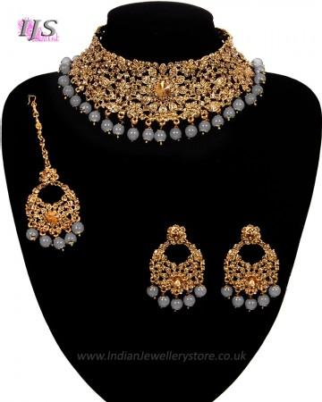 Grey Indian Necklace Set
