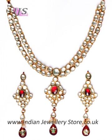Luxury Maroon Kundan Necklace NERK10984