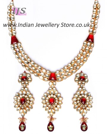 Luxury Maroon Kundan Necklace NERK10985
