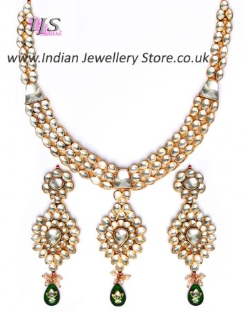 Luxury Green Kundan Necklace NEGK10986