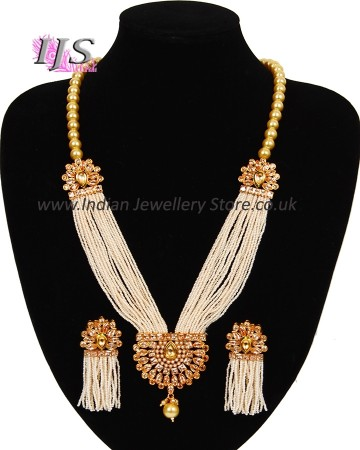 Indian Jewellery Set : Champagne Pearl Mala with Tassel Earrings