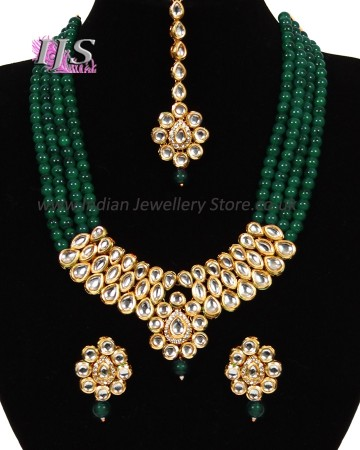 Beaded Kundan Mala Jewellery Set NEGA11059
