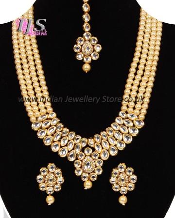 Beaded Kundan Mala Jewellery Set NEWA11061