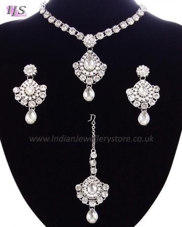 Delicate silver crystal necklace set - Shabnam NSWC11132C