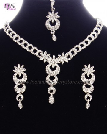 Dainty Crystal Indian Necklace Set NSWC11147