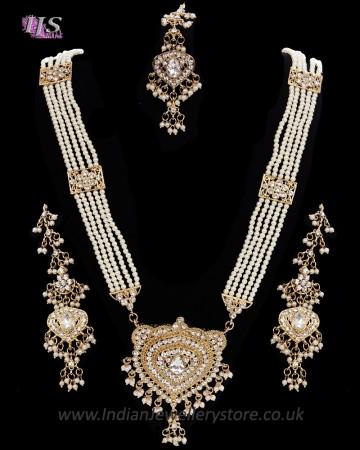 Nizami Crystal & Pearl Long Haar Set in Antique Gold NAWC11163