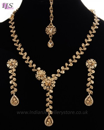 Dainty LCT Crystal Antique Indian Necklace Set NANC11148