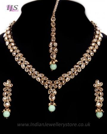 Delicate Champagne Diamond Indian Jewellery in Pastels NANA11171C
