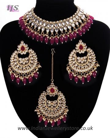 Value Kundan Ruby Red Necklace Set NGRK11175
