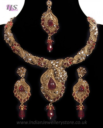Bright Red, Antique Gold, Asymmetric Necklace Set NARP11189