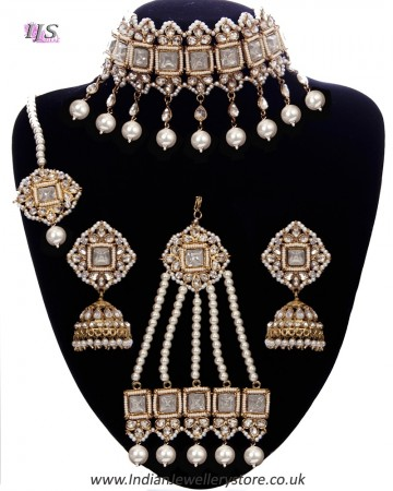 Pearl Indian Jewellery Set - Choker, Jhumki, Tikka & Jhumar NAWC11190