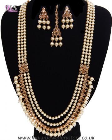 Queenly Pearl Maala Indian Jewellery Set NENA11192
