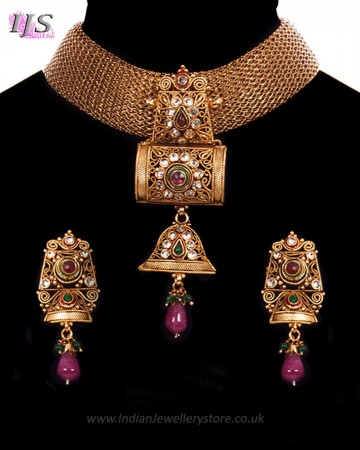 Antique Mesh Heritage Indian Choker Necklace Set NARA11195