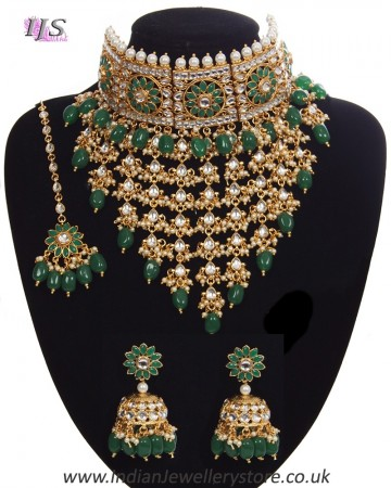 Sabyasachi Indian Statement Floral Kundan Jewellery Set - Green NEGK11200