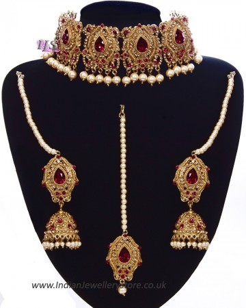 Antique & Pearl Indian Jewellery Set - Maroon Red NARC11222