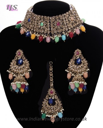 Mughal Antique American Diamond Choker Set - Multi-coloured NAMA11265
