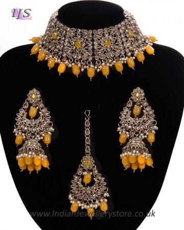 Mughal Antique American Diamond Choker Set NAYA11269