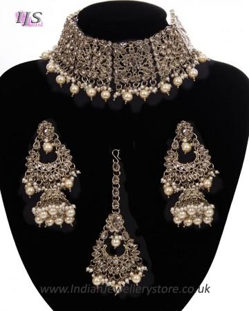 Mughal Antique American Diamond Choker Set - Pearl NAWA11274