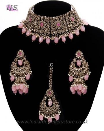 Mughal Antique American Diamond Choker Set NAWA11275C