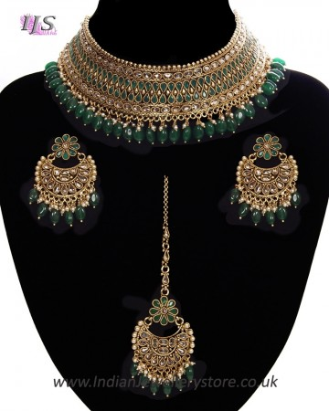Green American Diamond, Antique Indian Choker Jewellery Set BAGA11282