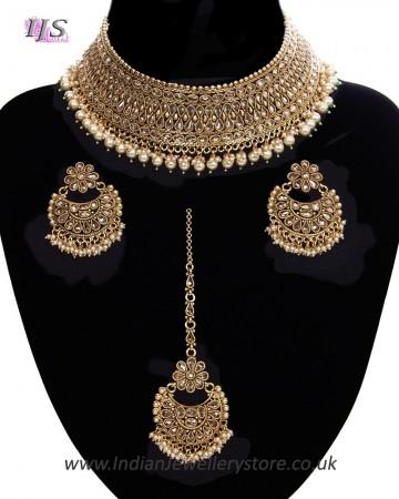 Pearl American Diamond, Antique Indian Choker Jewellery Set BANA11284