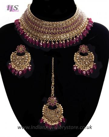 Indian CZ Diamond, Antique Choker Jewellery Set BANA11285C