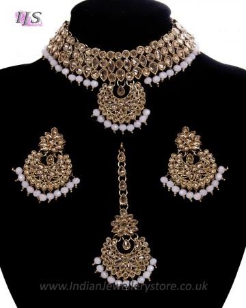 Champagne CZ Indian Choker Necklace Set - Pale Blush Pink NAPA11290