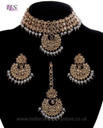 Champagne CZ Indian Choker Necklace Set NANA11295C