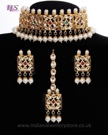 Heritage Multi-coloured Kundan 22k Plated Jewellery Set NEMK11301