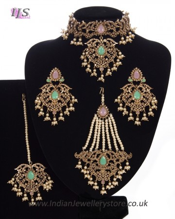 Mughal Princess Pearl Indian Jewellery Set - Choker, Ear, Tikka & Jhumar - baby pink & mint NAPC11305