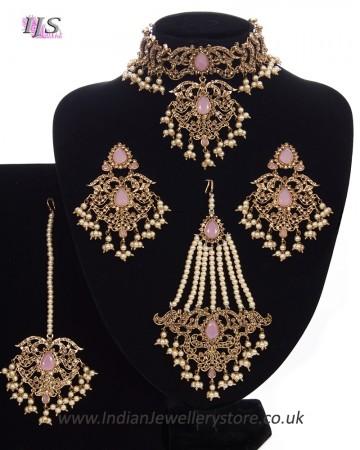Mughal Princess Pearl Indian Jewellery Set - Choker, Ear, Tikka & Jhumar NAPC11314