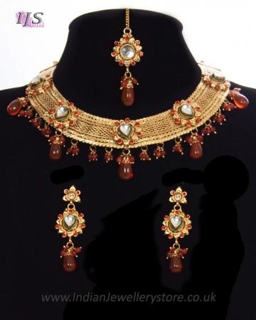 Elegant Mesh 22k Plated Collar Necklace Set NERK11322C