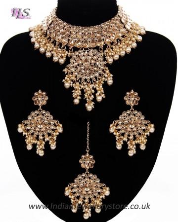 Pakistani Mughal Pearl & Champagne Kundan Jewellery NENL11430
