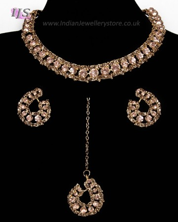 Elegant Champagne Crystal Collar Necklace & Studs - Blush / Nude NGPC11459