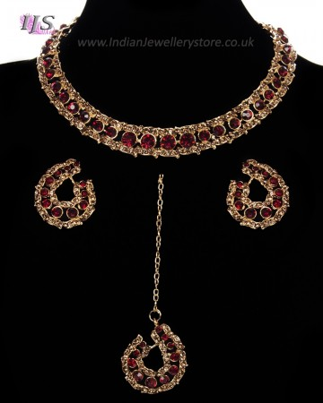 Elegant Champagne Crystal Collar Necklace & Studs - Maroon Red NGRC11460