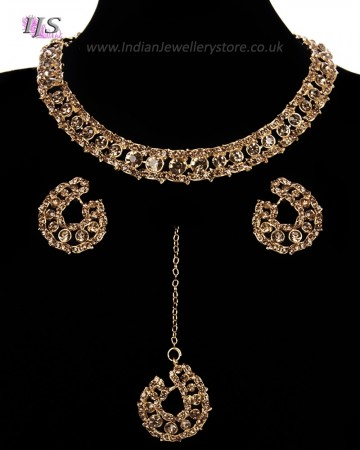 Elegant Champagne Crystal Collar Necklace & Studs NGNC11461
